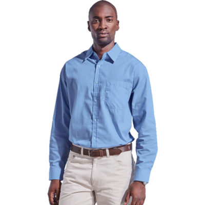 The Mens Clifton Check Lounge Long Sleeve Is Sky Blue 65/35 Poly Cotton Dress Shirt. Features Include A Yarn Dyed Check And Dropped Shoulder.