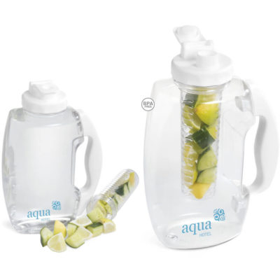 The 1.8L Vigor Infuser Desk Jug Features A PET And PP Desk Jug Which Has A 1.8L Capacity. It Has An AS Infuser. Available In White Only.