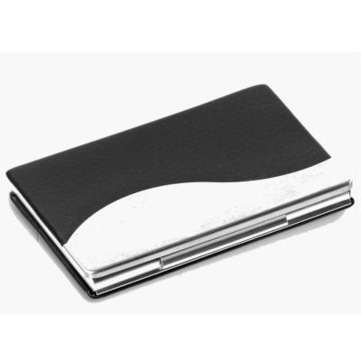 The Rockerfeller Business Card Holder Features Simulated Leather And Brushed Aluminium. It Is A Elegant Way Of Displaying Your Logo.