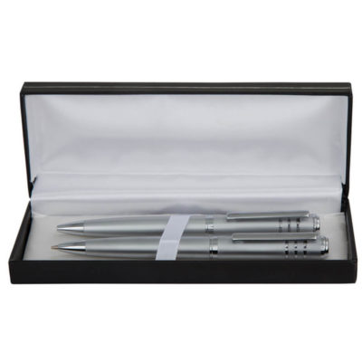 The Olympic Pen and Pencil Set Features A Silver Metal Pen And Pencil Set. It Features Black German Ink And It Is Packaged In A Set Tin.