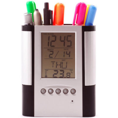 The Clock Stationary Holder comes in a silver and black colour and is made with plastic. It has a holder for your stationery and 5 buttons on the clock.