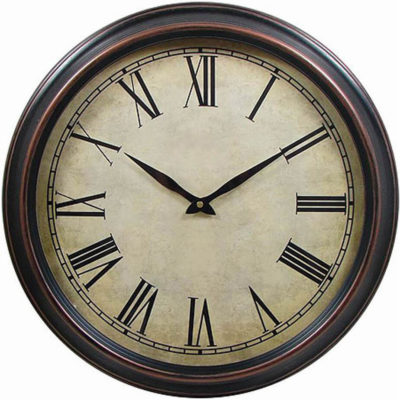 The Historic 45cm Wall Clock Features A Brown Plastic Wall Clock And It Includes Eveready Batteries. It Is Packaged In A Gift Box.