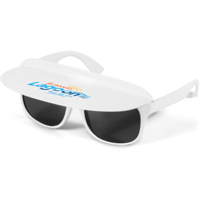 The Sunscape Visor Sunglasses Is A Summer Giveaway Which Is Great For All Ages. It Includes A Detachable Sun Visor. The Visor Folds Down For More Storage.