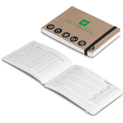 The Interval Fitness & Nutrition Jotter is a brown rectangular Kraft paper notebook with an elastic band closure. Contains pages to keep track of your workout activities and pages to enter your daily food intake