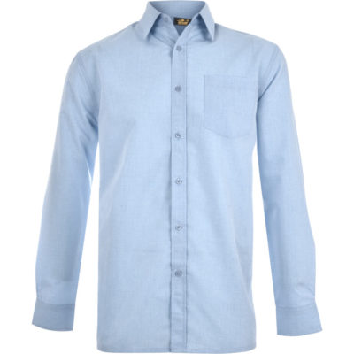 The Mens Long Sleeve Apollo Shirt is a light blue long sleeve shirt made from a blend of polyester, cationic polyester and cotton. Features include a front patch pocket, back yoke with a cross stitched box pleat and a curved hem for a comfortable fit. With a unique melange effect design