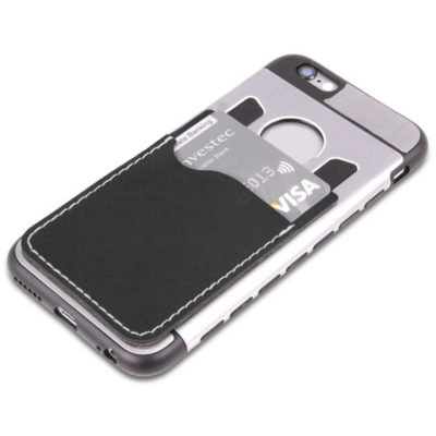 The Hold Em Up Card Holder Stick On Wallet Attached To The Cellphone With Credit Cards.