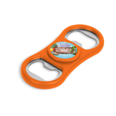 Orange Caps-Off Spinner That Is Both A Fidget Spinner And Bottle Opener