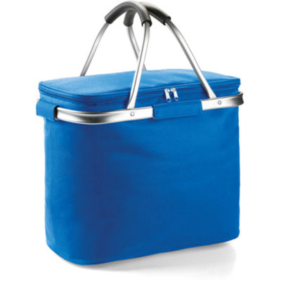 The Picnic Cooler Basket is a royal blue 600 denier fabric cooler bag with white PVC lining, stainless steel framwork, stainless steel carry handles with black PVC handle protectors and one large main storage compartment