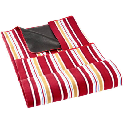 The Good Life Picnic Blanket With A Carry Handle Has A Stripe Red, Mustard, Black And White Design. The Blanket Has A Waterproof Underlining And A Velcro Closure.