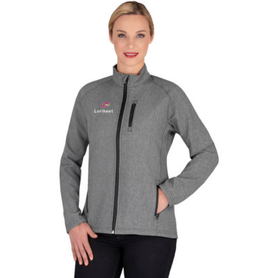 The Ladies Atomic Jacket has a softshell, made from 46% polyester, 46% polyester cationic, 8% spandex lined in fleece