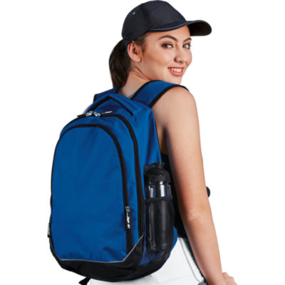 The Royal Blue/Black BRT Chrome Back Pack Is Made From 600D Polyester. Include 3 Zip Pockets And Reflective Tape.