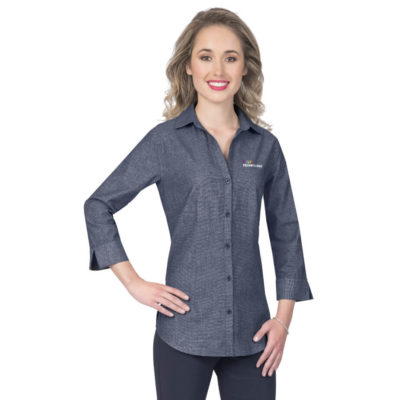 The Ladies ¾ Sleeve Viscount Shirt is a 110gsm 60% cotton 40% polyester 3/4 formal shirt, with a back yoke, front and back darts, bust darts, a curved hem and side slits.