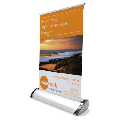 Single Sided Desk Mini Pull Up Banner That Can Retract Back Into Its Base