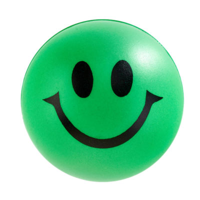 Green Smile Stress Ball With Happy Facial Expression