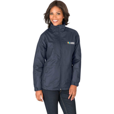 The Ladies Berkeley 3 In 1 Jacket is made from 130 g/m² , 100% polyester rib tech with a lining of 200 g/m², 100% micro polar fleece