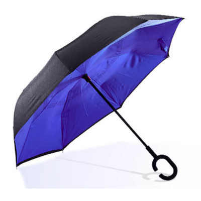 8 Panel 210T Pongee Material Reversible Goodluck Umbrella With Black Top And Red Interior