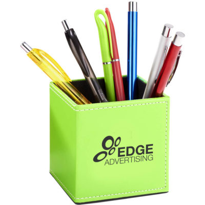 The Hilton Pen And Stationery Holder is a lime green PU rectangular desk caddy with contrast white stitching and lined with black fabric