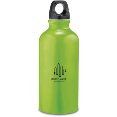 The Action Water Bottle is a lime green aluminium water bottle with a 400ml capacity and a black screw on lid with carrying loop