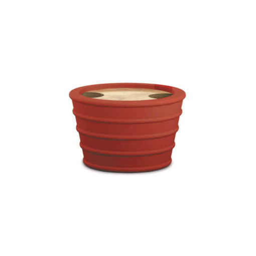 Red Rubber, Wood And Silicone Holder for Topsy-Turvy Snack Bowl
