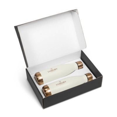 Milan One Gift Set consisting of 2 500ml stainless steel water bottles with a powder coating and bronze accents in a black presentation box