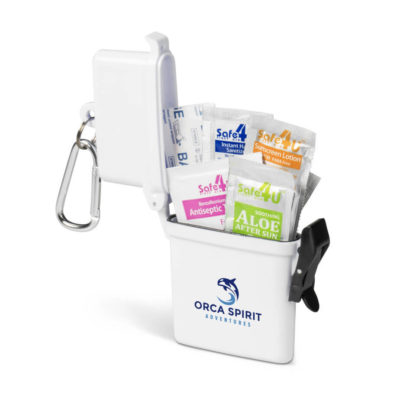 Scout Water-Tight First Aid Kit Is A Waterproof Container And Carabiner Clip With Plasters, Antiseptic Towelettes, Hand Sanitiser Gel, Sunscreen Lotion And After Sun Gel