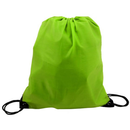 The Light Green 210D Poly String Bag Is Made From 210D Polyester. The Bag Has Reinforced Eyelets.