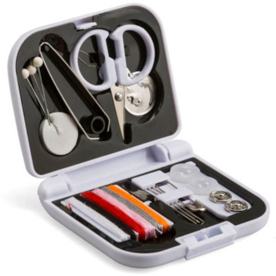 The Easy Care Sewing Kit is a compact yet massive collection of sewing instruments that includes a pair of scissors and tweezers among other things.