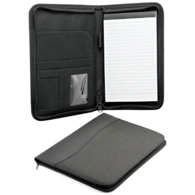 The A5 Assistants Zip Around Folder is an office folder that is only available in black. It includes a sleeve, two ID windows and a pen loop.