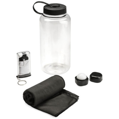 The Revive 4 Piece Workout Gift Set includes a 1L PS plastic transparent bottle with a large black screw off lid and carrying loop, 1 black polyester gym towel, a black plastic cube shaped lip balm and black ABS in-ear earphones in a transparent plastic case with a black lid