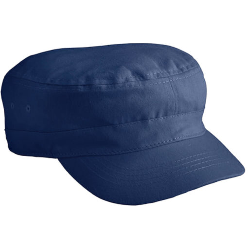 The The Ranks Cap is a navy 100% cotton headwear item in an army cadet style with a loose fitting base and pre-curved peak