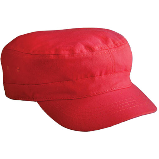 The The Ranks Cap is a red 100% cotton headwear item in an army cadet style with a loose fitting base and pre-curved peak