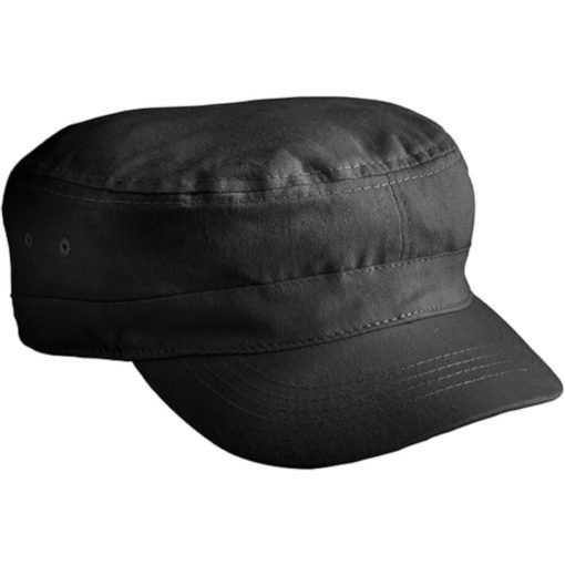 The The Ranks Cap is a black 100% cotton headwear item in an army cadet style with a loose fitting base and pre-curved peak