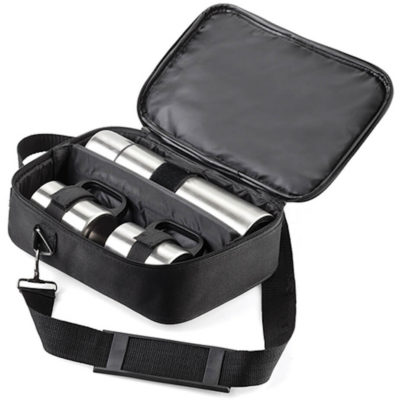 The Flask Set includes a Stainless Steel 500ml Flask and two Stainless Steel 230ml Mugs all packaged in a black multi-compartment bag.