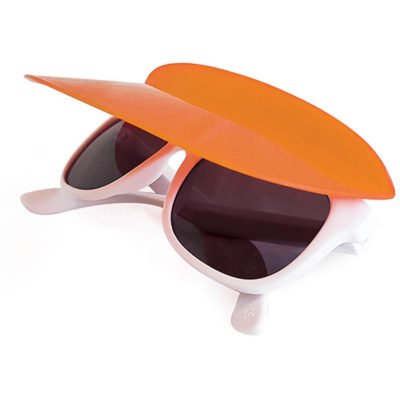 Keep the sun out of your eyes and off your face with the orange 2 in 1 Tour Sunglasses. Made out of Polycarbonate for durability and high impact-resistance