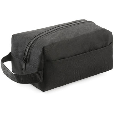 The Easy Travel Toiletry Bag is made from 600 denier, in the colour black has a side pocket and a main zip compartment.