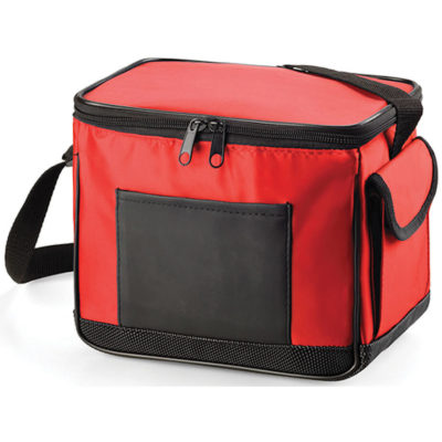 The 6 Pack Cooler Bag in the colour red is made from PVC material with silver lining, adjustable shoulder strap and multiple compartments.