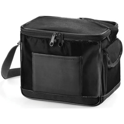 The 6 Pack Cooler Bag in the colour black is made from PVC material with silver lining, adjustable shoulder strap and multiple compartments.
