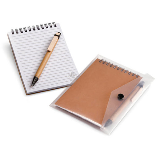 The A6 Eco Notebook & Pen In Clear Sleeve comes with a wooden pen and a notebook all packed inside a clear sleeve.