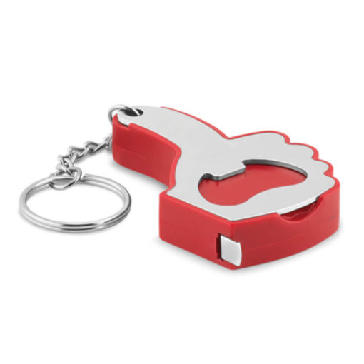 The Red A OK Keyring, a fun and quirky addition for your keyring that includes a a bottle opener and a one meter measuring tape in the shape of a thumbs up.