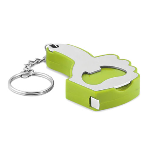 The Lime Green A OK Keyring, a fun and quirky addition for your keyring that includes a a bottle opener and a one meter measuring tape in the shape of a thumbs up.