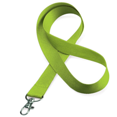 The Lime Green Simple Lany ismade from polyesterand includes a velcro safety closure thatallows for easy printing and a snaplobster hook.