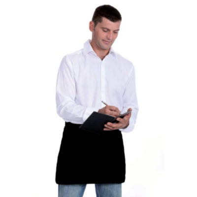 The Waiters Apron is available in black and includes three pockets in the front that can be branded to show off your personal logo or design.