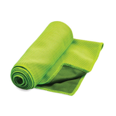 The Lime Green Sports Towel is made up of 55% Polyamide and 45% Microfiber for high water absorbency. It can also be used as a cooling towel.