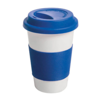 The Royal Blue Ceramic Mug with Silicone Grip is perfect for an on-the-go lifestyle. The included silicone lid and band are available in a range of bright colours!