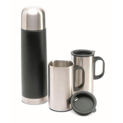 The Flask and Mug Set is beautifully presented in an elegant black box. It's vacuum insulated to keep the contents the temperatures they're supposed to.
