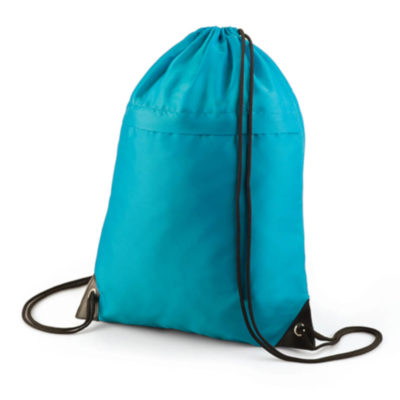 The Turquoise Drawstring With Zip includes a main compartment with a cinch top and zip for easy access. It's available in a wide range of fantastic colours