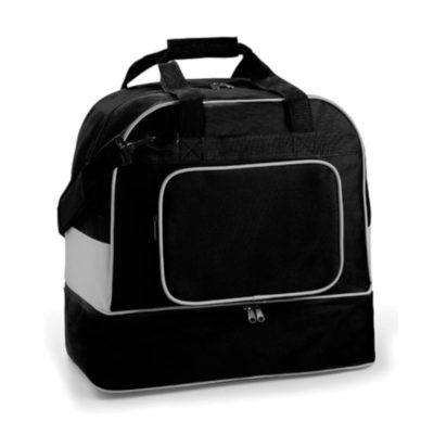 The Double Decker Two Tone Bag is a compact yet spacious sports bag with 2 zippered compartments and a front pocket in a stylish black and grey design.
