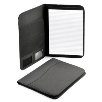 The A4 Man Friday Folder in black is a rectangular shaped folder that when opened has a space for a writing pad on the right side and 2 sleeves, 2 ID windows on the left.
