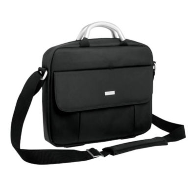 The Executive Laptop Shoulder Bag fits most 15 inch laptops and has a front pocket and an adjustable shoulder strap. Keep your laptop with you at all times.