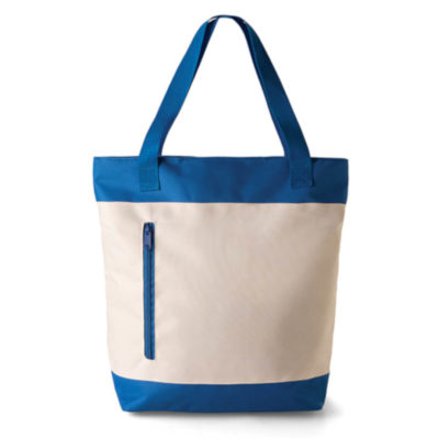 The royal blue 2 Tone Tote Bag includes a front zippered pocket as well as a main compartment and is available in a range of bold and stunning colours.